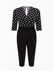 Black & White Polka Dot Studio Knit Jumpsuit , DOT -BLACK, hi-res