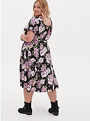 Black Floral Challis Peasant Midi Dress, FLORAL - BLACK, alternate