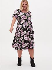 Black Floral Challis Peasant Midi Dress, FLORAL - BLACK, hi-res
