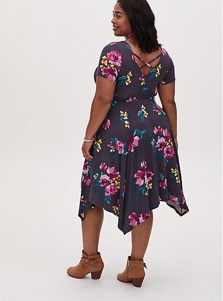 Super Soft Dark Slate Grey Floral Crisscross Back Handkerchief Dress, FLORAL - GREY, alternate