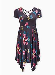 Super Soft Dark Slate Grey Floral Crisscross Back Handkerchief Dress, FLORAL - GREY, hi-res