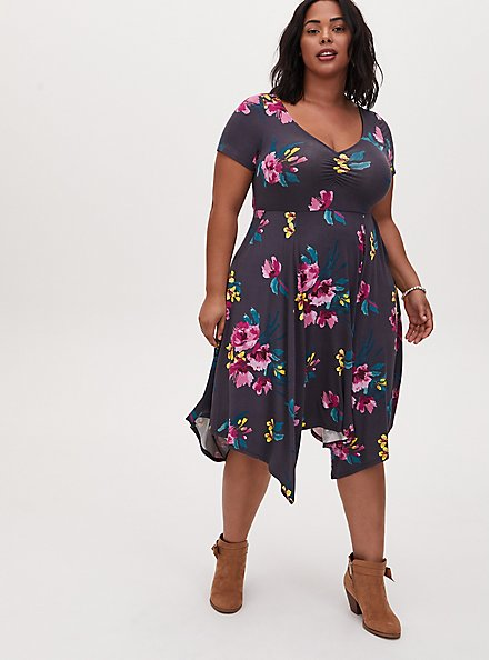 Super Soft Dark Slate Grey Floral Crisscross Back Handkerchief Dress, FLORAL - GREY, hi-res