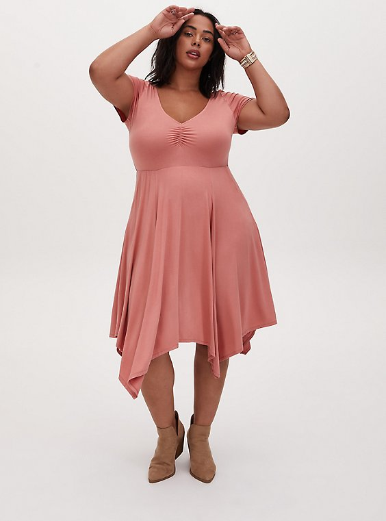 Super Soft Coral Handkerchief Skater Dress, , hi-res
