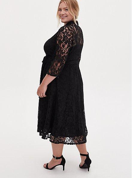 Black Lace Self Tie Tea Length Shirt Dress, DEEP BLACK, alternate