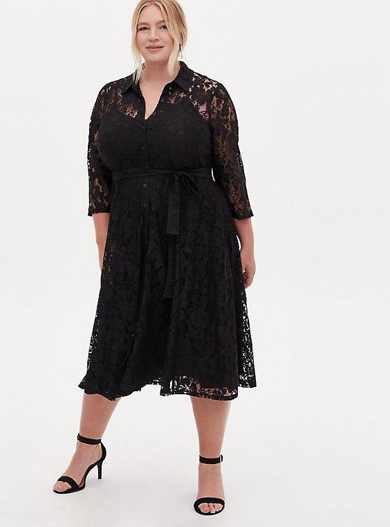 Black Lace Self Tie Tea Length Shirt Dress, DEEP BLACK, hi-res