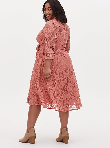 Plus Size Dusty Coral Lace Self Tie Tea Length Shirt Dress , , alternate