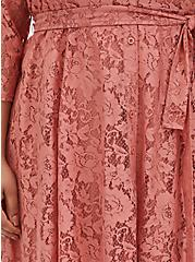 Dusty Coral Lace Self Tie Tea Length Shirt Dress , , alternate