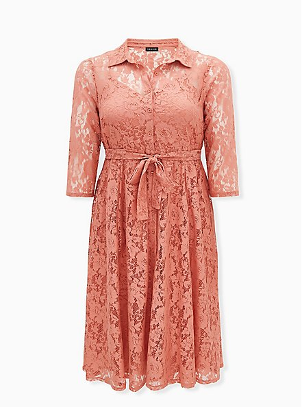 Plus Size Dusty Coral Lace Self Tie Tea Length Shirt Dress , , hi-res