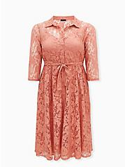Dusty Coral Lace Self Tie Tea Length Shirt Dress , , hi-res