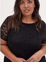 Black Lace Fluted Dress, DEEP BLACK, alternate