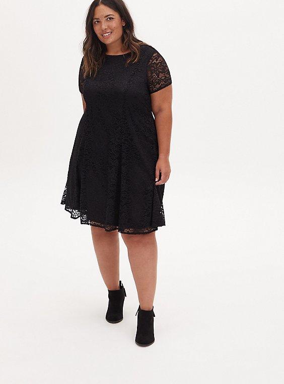 Black Lace Fluted Dress, DEEP BLACK, hi-res