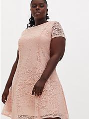 Plus Size Light Pink Lace Fluted Dress, PALE BLUSH, alternate