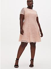 Plus Size Light Pink Lace Fluted Dress, PALE BLUSH, hi-res