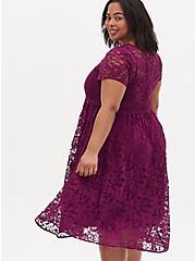 Plum Purple Lace Ladder Inset Midi Dress, DARK PURPLE, alternate