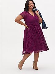 Plum Purple Lace Ladder Inset Midi Dress, DARK PURPLE, hi-res