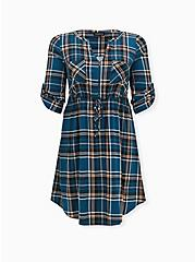 Plus Size Teal Blue Plaid Challis Zip Front Drawstring Shirt Dress, PLAID - BLUE, hi-res