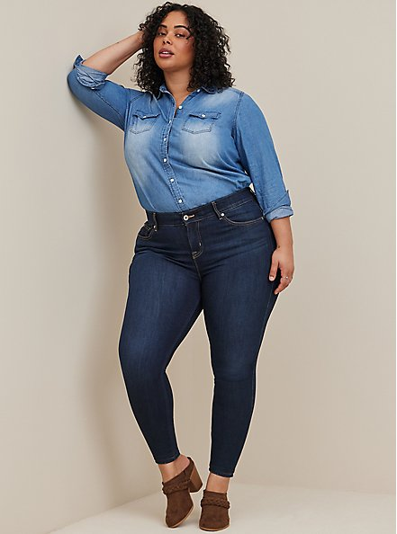 Bombshell Skinny Jean - Premium Stretch Eco Dark Wash, CANARY WHARF, hi-res