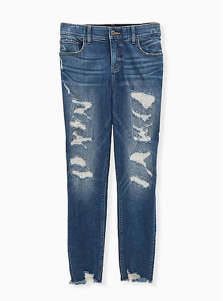 Bombshell Skinny Jean - Premium Stretch Eco Medium Wash with Distressed Hem, WESTCHESTER, hi-res