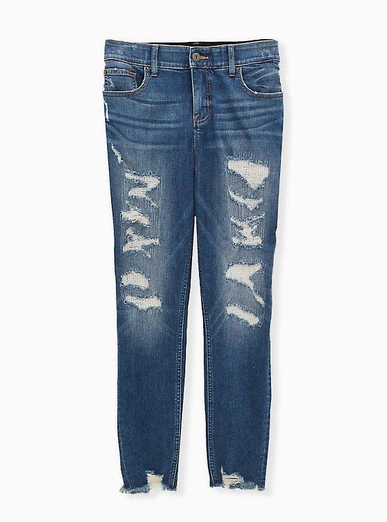 Bombshell Skinny Jean - Premium Stretch Eco Medium Wash with Distressed Hem, , flat