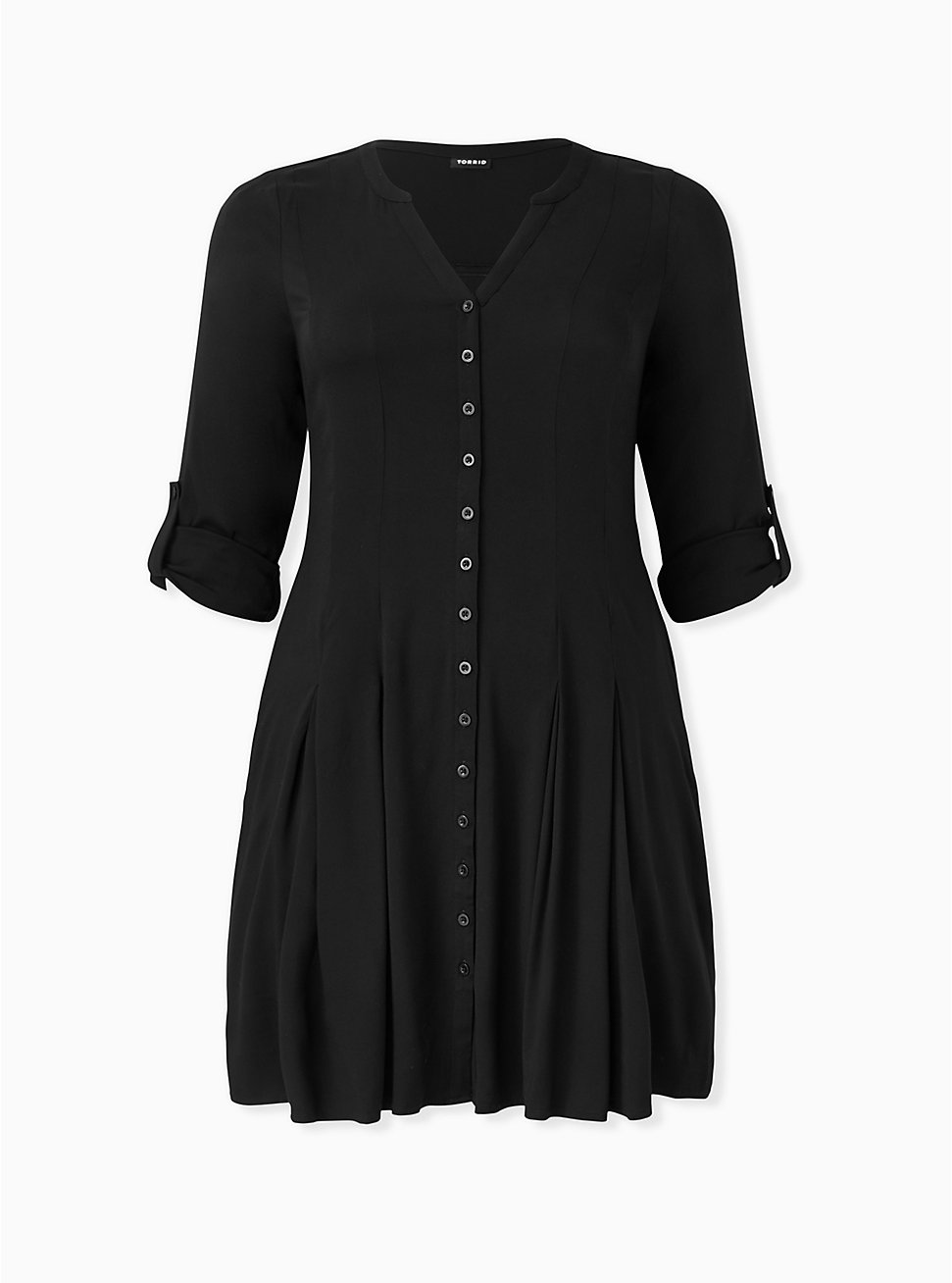 Black Challis Button Front Fluted Mini Dress, DEEP BLACK, hi-res