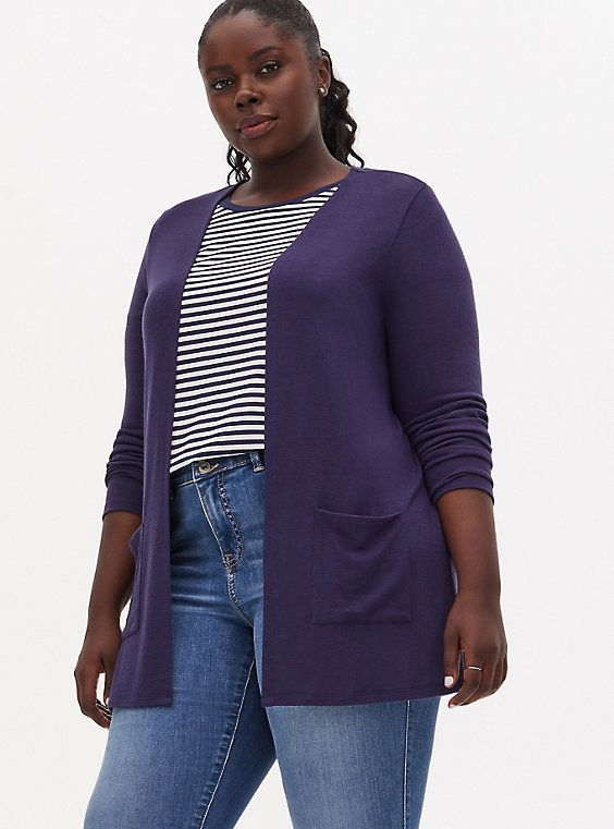 Navy Hacci Open Front Cardigan, PEACOAT, hi-res