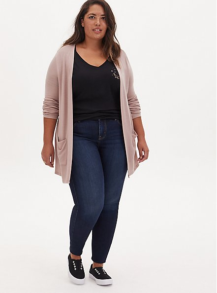 Taupe Hacci Open Front Cardigan, FAWN, alternate