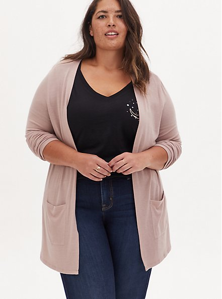 Taupe Hacci Open Front Cardigan, FAWN, hi-res