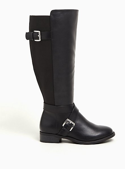 Brooke - Black Faux Leather Buckle Knee-High Boot (WW & Wide to Extra Wide Calf), BLACK, alternate