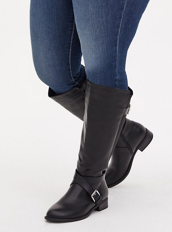 Black Faux Leather Buckle Knee-High Boot (WW & Wide to Extra Wide Calf), , hi-res