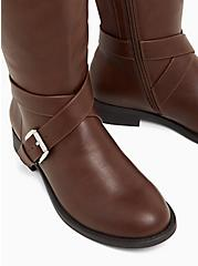 Brooke - Chestnut Faux Leather Buckle Knee-High Boot (WW & Wide to Extra Wide Calf), BROWN, alternate