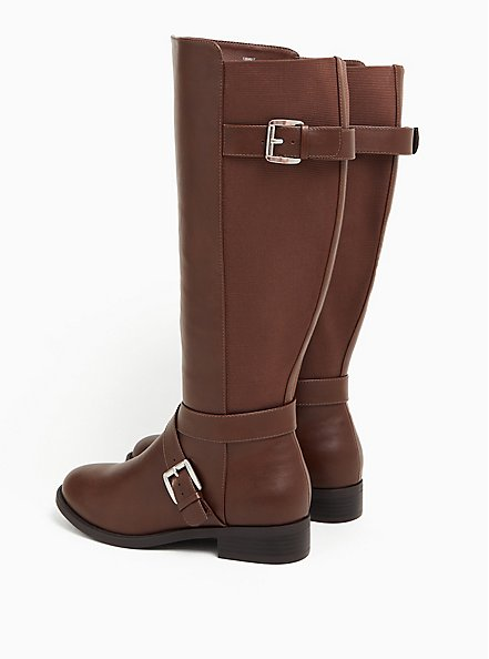 Plus Size Brooke - Chestnut Faux Leather Buckle Knee-High Boot (WW & Wide to Extra Wide Calf), BROWN, alternate