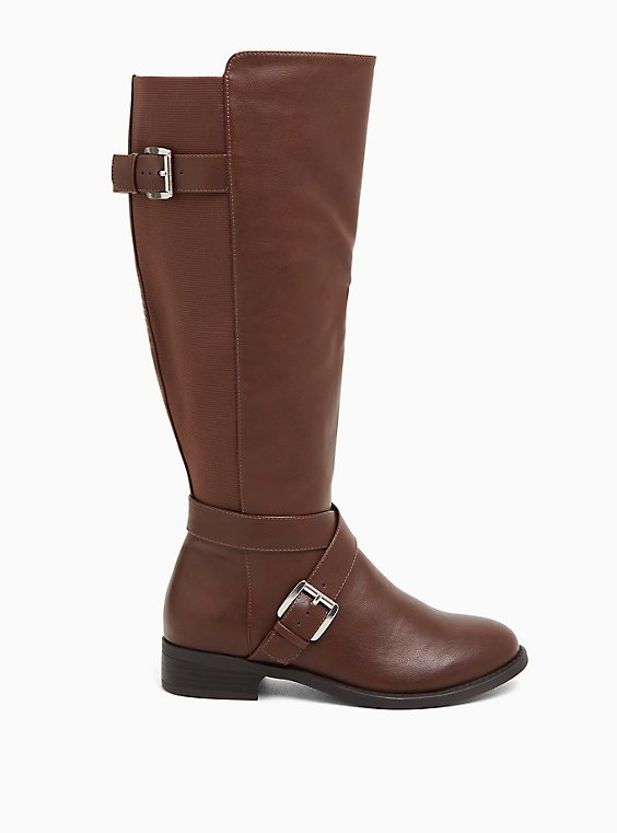 Chestnut Faux Leather Buckle Knee-High Boot (WW & Wide to Extra Wide Calf), , hi-res