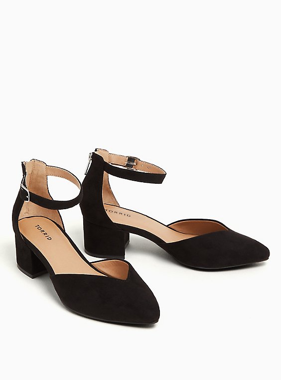 Black Faux Suede V-Cut Pointed Block Heel (WW), , hi-res