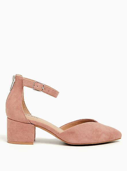 Blush Pink Faux Suede V-Cut Pointed Block Heel (WW), BLUSH, alternate