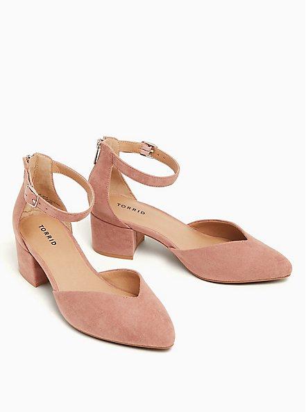 Blush Pink Faux Suede V-Cut Pointed Block Heel (WW), BLUSH, hi-res