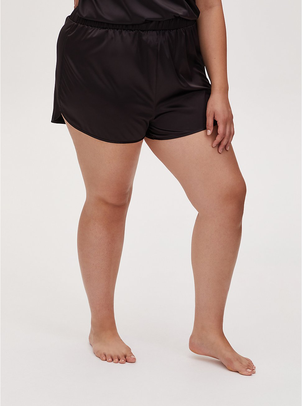 Black Dolphin Hem Satin Sleep Short, DEEP BLACK, hi-res