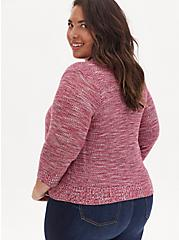 Plus Size Red Space-Dye Button Front Crop Cardigan, RED, alternate