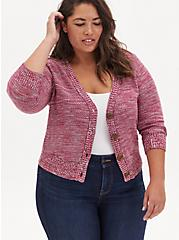Red Space-Dye Botton Front Crop Cardigan, RED, hi-res