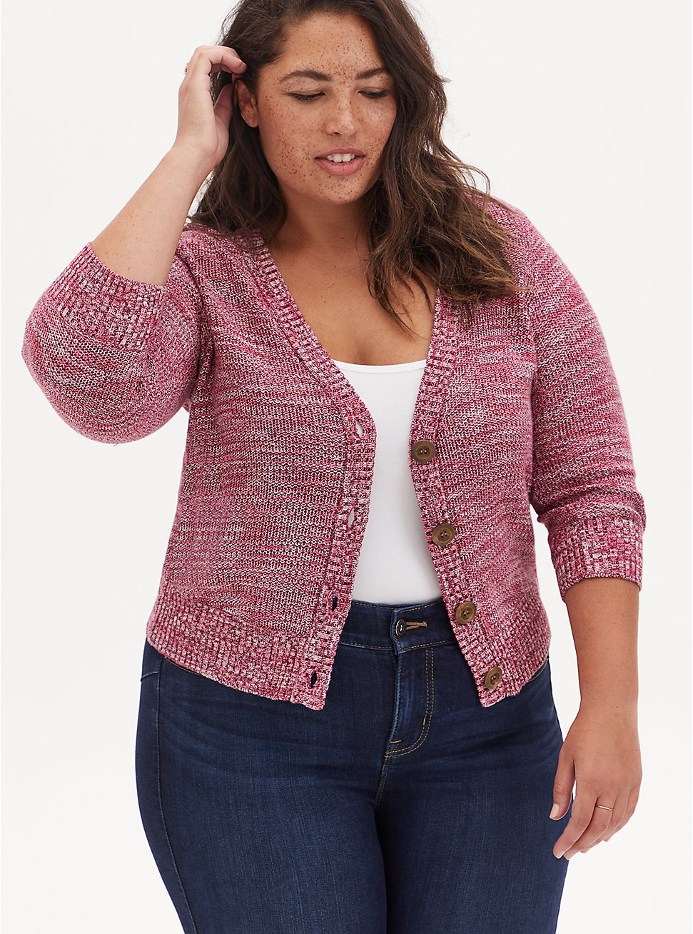 Red Space-Dye Button Front Crop Cardigan, RED, hi-res