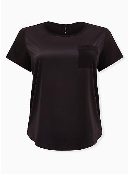 Plus Size Black Satin Sleep Pocket Tee, DEEP BLACK, hi-res