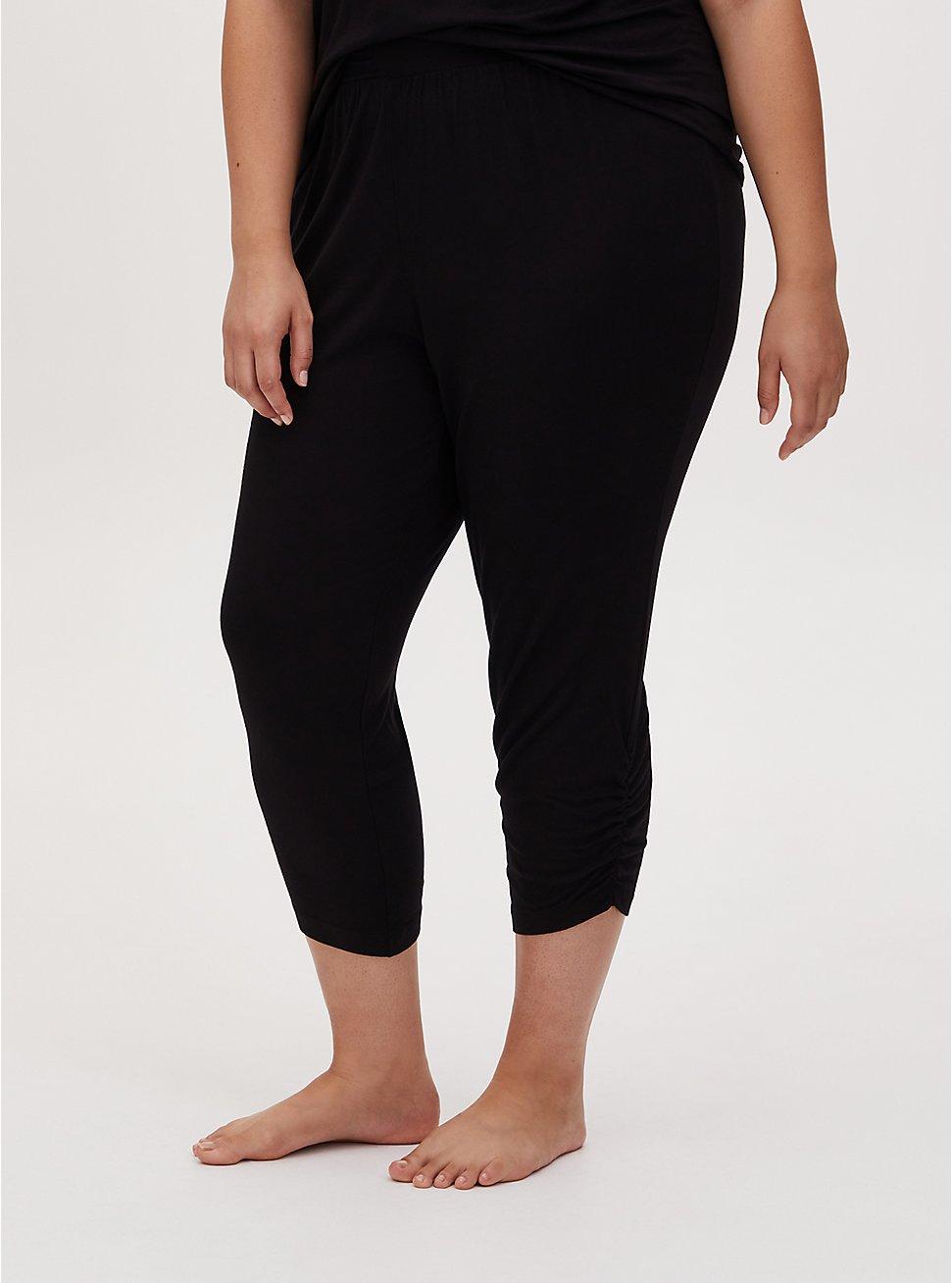 Black Ruched Crop Sleep Pant, DEEP BLACK, hi-res