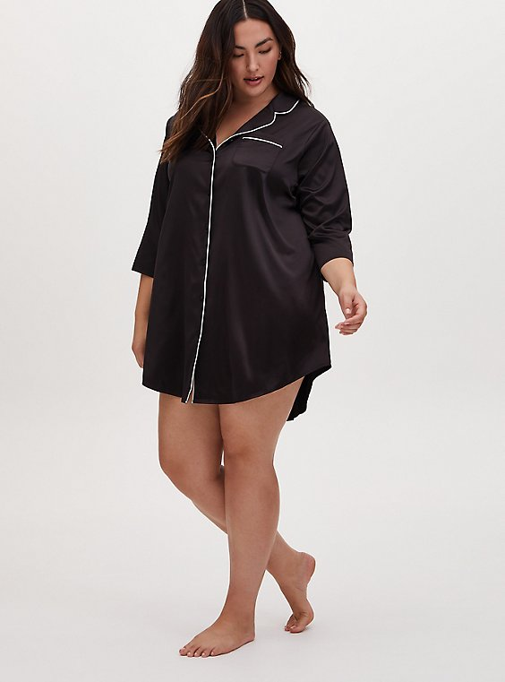 Black Satin Sleep Tunic Shirt, , hi-res