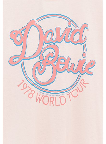 Plus Size David Bowie 1978 World Tour Crew Neck Tee - Light Pink, , alternate