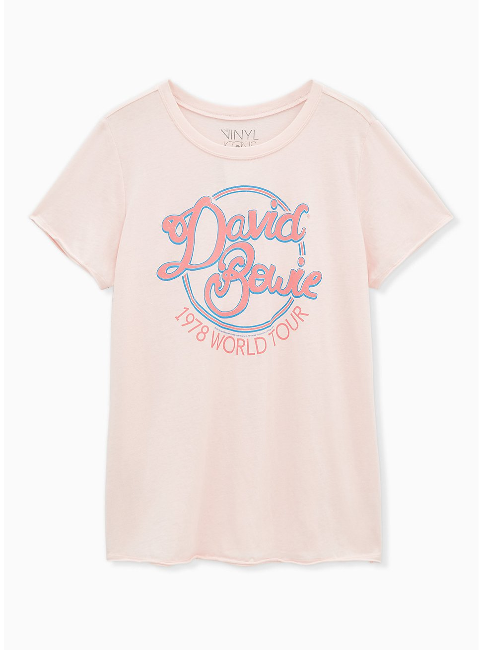 Plus Size David Bowie 1978 World Tour Crew Neck Tee - Light Pink, , hi-res