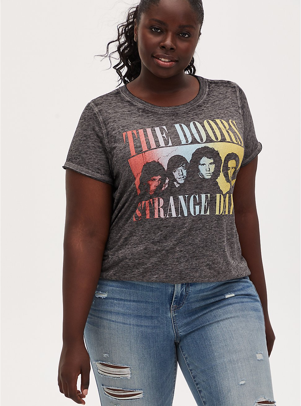 The Doors Strange Days Crew Tee - Burnout Black, DEEP BLACK, hi-res
