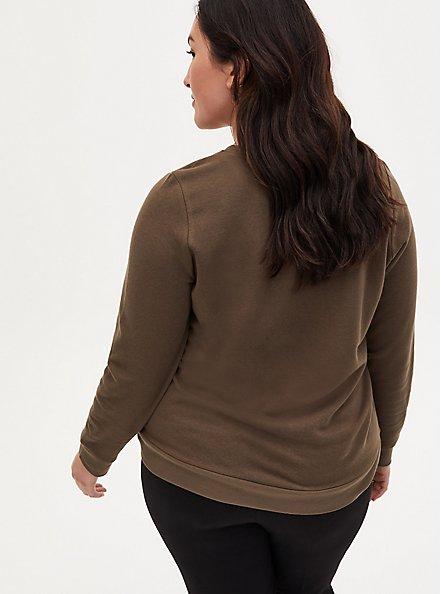 Olive Green Fleece Wild And Free Crew Neck Sweatshirt, DEEP DEPTHS, alternate