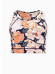 Navy & Peach Floral Wicking Longline Sports Bra, FLORAL - PINK, hi-res