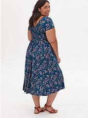 Teal Blue Floral Challis Smocked Midi Dress, FLORAL - BLUE, alternate