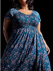 Teal Blue Floral Challis Smocked Midi Dress, FLORAL - BLUE, hi-res