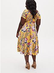 Yellow Floral Challis Smocked Midi Dress, FLORAL - YELLOW, alternate